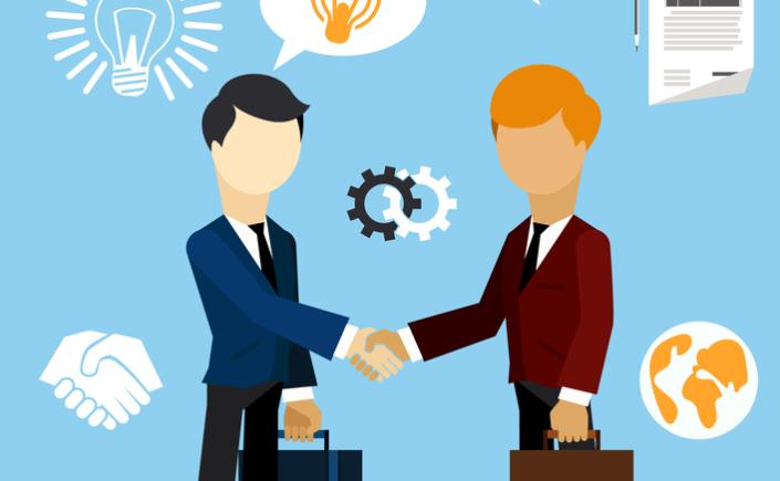 Happy business man make handshake exchange case