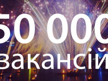 Кількість вакансій на порталі rabota.ua перевищила 50 000