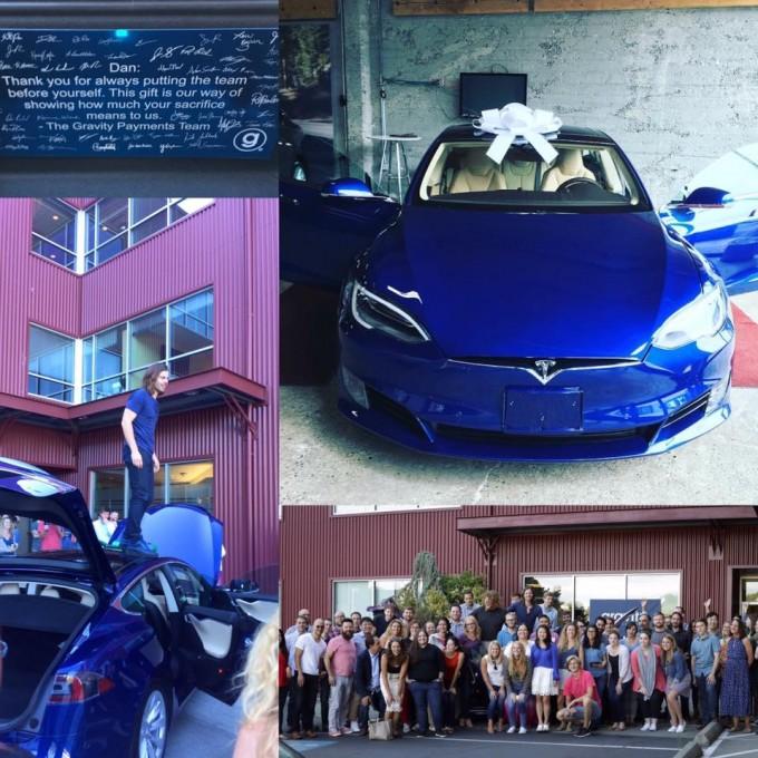 Сотрудники отблагодарили босса за повышение зарплаты машиной Tesla