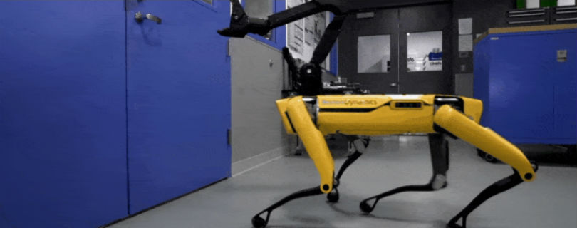 В Boston Dynamics робопса научили открывать дверь-