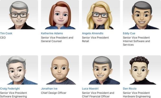 Apple представила топ-менеджмент в виде эмодзи